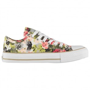 SoulCal Canvas Low Ladies Canvas Shoes White Floral