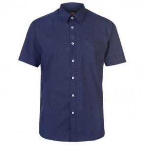 Short Sleeve Shirt Mens - Navy/Wht Geo