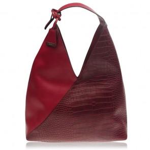 Glamorous Slouchy Handbag Wine Croc