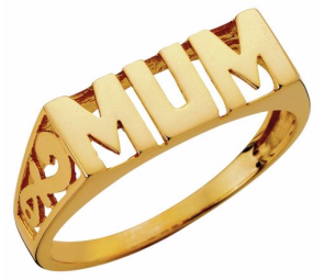 Moon & Back 9ct Gold Plated Sterling Silver 'Mum' Ring