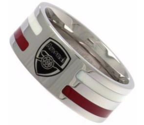 Stainless Steel Arsenal Striped Ring