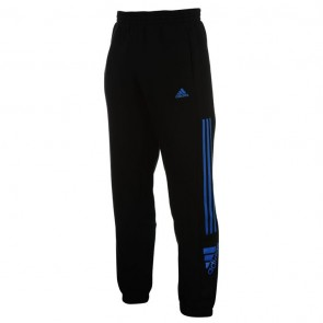 Adidas 3 Stripe Logo Fleece Pants Mens- Black/Blue.