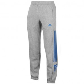Adidas 3 Stripe Logo Fleece Pants Mens- M Grey/Royal.