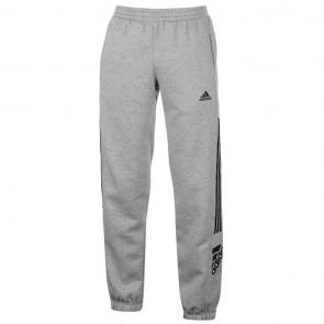 Adidas 3 Stripe Logo Fleece Pants Mens - Med Grey/Black.