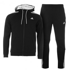 Adidas 3 Stripes Jogging TrackSuite - Black/Grey.