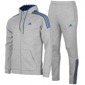 Adidas 3 Stripes Jogging TrackSuite - M.Grey/Blue.