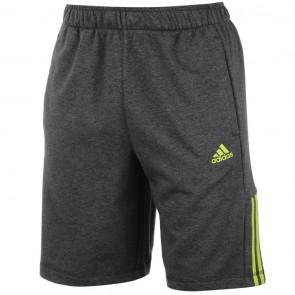 Adidas 3Stripe Shorts Mens - Dark Grey/Lime.