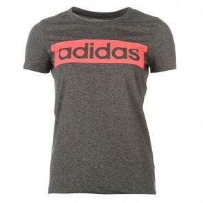 Adidas Linear TShirt Womens - Black Mel/Red.