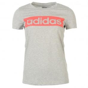 Adidas Linear TShirt Womens - Grey/ShockRed.