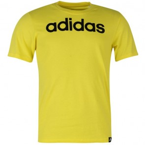 Adidias Linear Logo T Shirt Mens - Yellow.
