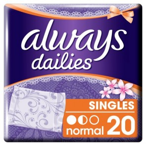 Always Dailies Normal Individually Wrapped And Folded Panty Liners 20 Pack.