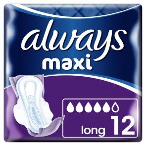 Always Maxi Long Plus Sanitary Towels 12 Pack.