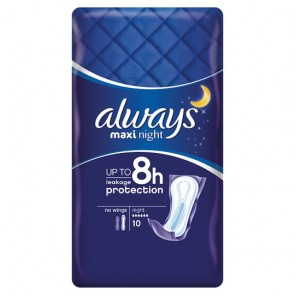 Always Maxi Night Sanitary Towels 10 Pack.