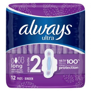 Always Ultra Long Plus Sanitary Towels 12 Pack.