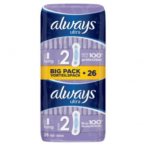 Always Ultra Long Sanitary Towels Plus Duo 26 Pack.