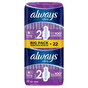 Always Ultra Long Sanitary Towels Plus Wings Duo 22 Pack.