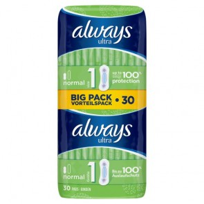 Always Ultra Normal Sanitary Towels Plus Duo 30 Pack.