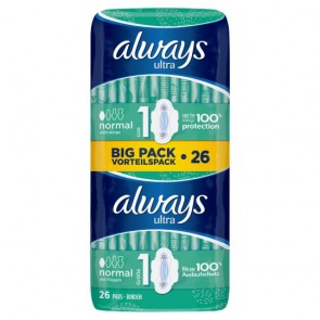 Always Ultra Normal Sanitary Towels Plus Wings Duo 26 Pack.