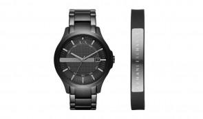 Armani Exchange Men's Black Bracelet Watch and Leather Cuff
