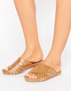 ASOS FERGO Woven Cross Strap Leather Sandals - Tan.