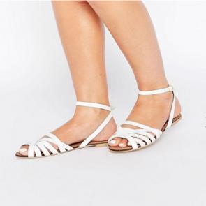 ASOS FIFI Woven Leather Sandals - White.