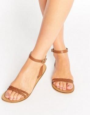 ASOS FLERY Leather Flat Sandals - Tan.
