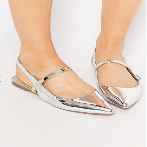 ASOS LATIMER Pointed Ballet Flats -  Silver.