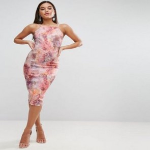 ASOS Marble Double Strap Midi Pencil Dress - Multi.