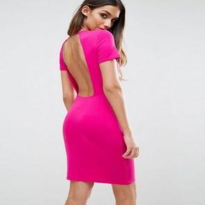 ASOS T-Shirt Open Back Mini Bodycon Dress - Hot Pink.