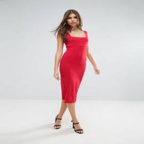 ASOS Thick Strap Square Neck Midi Bodycon Dress - Red.