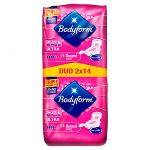 Bodyform Ultra Normal Wing Sanitary Towels 28 Pack.