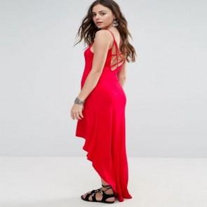 Boohoo Hi Low Strappy Maxi Dress - Red.