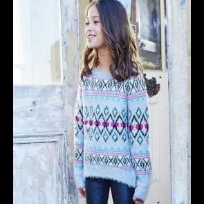 Cherokee Girls Fairisle Eyelash Jumper - Grey.
