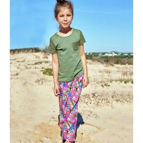 Cherokee Girls' Hibiscus Print Trousers.