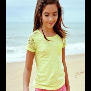 Cherokee Girls' Lace Detail Pockets T-Shirt - Lemon.