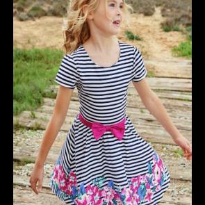Cherokee Girls Stripe Dress with Flower Border.