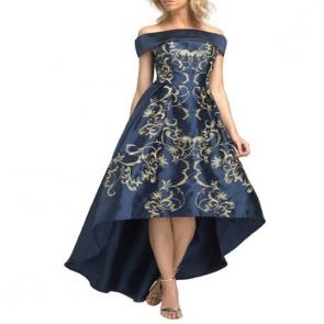Chi Chi London Embroidered Bardot Dip Hem Dress - Navy.