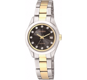 Citizen Ladies' Eco-Drive Black Dial Two Tone Watch.