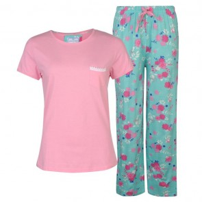 Cote De Mio Lace Trim Pyjama Set Ladies - Aqua.