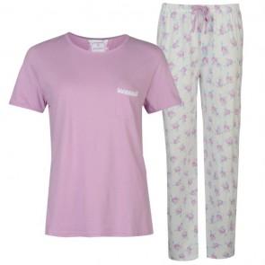 Cote De Mio Lace Trim Pyjama Set Ladies - Lilac.