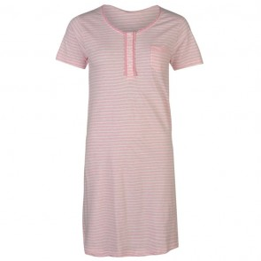 Cote De Moi Crew Neck Nightdress Ladies - Pink Stripe