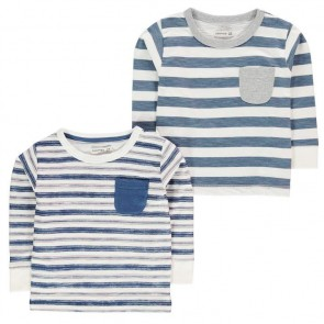 Crafted Stripe Tee Shirts 2 Pack Childrens.