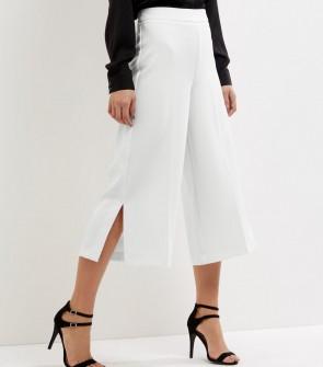 Crepe Side Split Culottes - White.