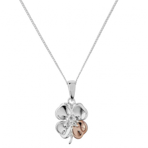 Revere Rose Gold Plated Clover Pendant 18 Inch Necklace