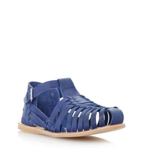 Dune Woven Leather Close Toe Sandal - Blue.