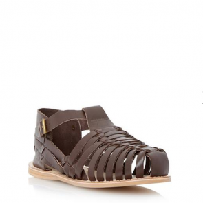 Dune Woven Leather Close Toe Sandal - Brown.