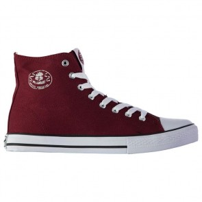 Dunlop Mens Canvas High Top Trainers - Burgundy.