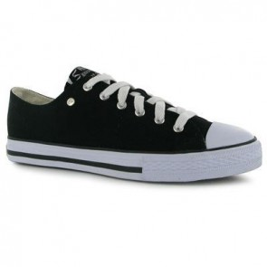Dunlop Mens Canvas Low Top Trainers - Black/White.