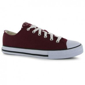 Dunlop Mens Canvas Low Top Trainers - Burgundy.