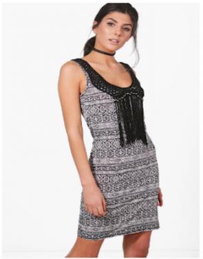 Faye Mono Crochet Tassle Bodycon Dress - Black.